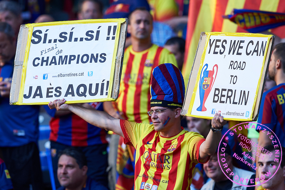 Supporter of Barcelona during the 2014/15 UEFA Champions League Final between Juventus and FC Barcelona at Olympiastadion on June 6, 2015 in Berlin, Germany.<br /> Germany, Berlin, June 6, 2015<br /> <br /> Picture also available in RAW (NEF) or TIFF format on special request.<br /> <br /> For editorial use only. Any commercial or promotional use requires permission.<br /> <br /> Adam Nurkiewicz declares that he has no rights to the image of people at the photographs of his authorship.<br /> <br /> Mandatory credit:<br /> Photo by &copy; Adam Nurkiewicz / Mediasport