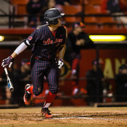 16 February 2018: San Diego State baseball opened up the season against UCSB at Tony Gwynn Stadium. San Diego State infielder Jordan Verdon (21) hits a two out two run double in the bottom of the second to give the Aztecs a 5-0 lead. The Aztecs beat the Gauchos 9-1. <br /> More game action at sdsuaztecphotos.com