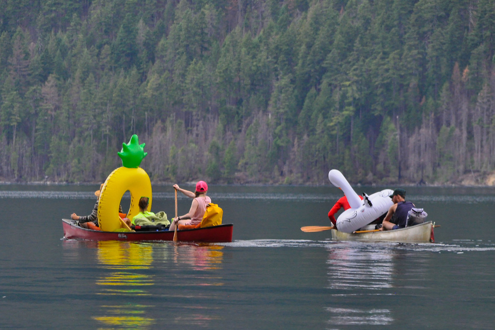 Canoers with Floaties, Ross Lake National Recreation Area, North Cascades National Park, US