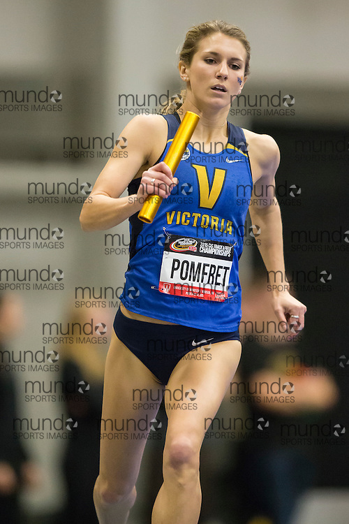 Windsor, Ontario ---2015-03-13--- Kendra Pomfret of  University of Victoria competes in the 4X800m relay at the 2015 CIS Track and Field Championships in Windsor, Ontario, March 15, 2015.<br /> GEOFF ROBINS/ Mundo Sport Images