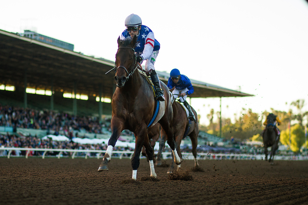 December 26, 2015: Runhappy with Gary Stevens wins the Malibu Stakes at Santa Anita Park, Arcadia CA. Evers/ESW/CSM