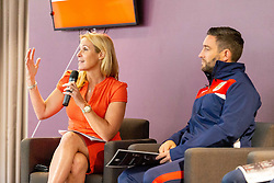 Lisa Knights, Chief of Media for Bristol Sport, talks with Bristol City manager Lee Johnson - Ryan Hiscott/JMP - 21/06/18 - Ashton Gate Stadium - Bristol, England - Bristol City 2018-19 Fixtures Release Day and Q&A Session