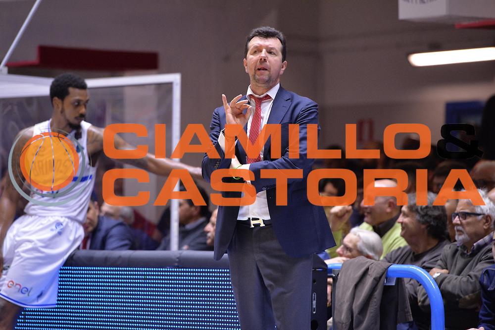Spiro Leka<br /> Enel Brindisi - Consultinvest pesaro<br /> Legabasket serieA  2016/2017<br /> Brindisi 09/04/2017<br /> Foto Ciamillo-Castoria