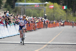 Megan Guarnier (USA) of Boels-Dolmans Cycling Team wins the first, 117 km road race stage of the Amgen Tour of California - a stage race in California, United States on May 19, 2016 in South Lake Tahoe, CA.
