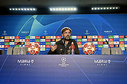 MADRID, SPAIN - Friday, May 31, 2019: Liverpool's manager Jürgen Klopp during a press conference ahead of the UEFA Champions League Final match between Tottenham Hotspur FC and Liverpool FC at the Estadio Metropolitano. (Pic by Handout/UEFA)