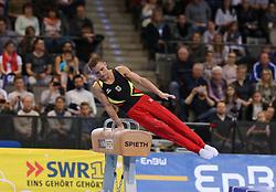 20.03.2016, Porsche Arena, Stuttgart, GER, EnBW Turn Weltcup Stuttgart 2016, im Bild Andreas Brettschneider (GER) am Pferd, Sieger Welt Cup Herren, EnBW Turn-Weltcup Stuttgart 2016, Porsche-Arena, Turnen, 20.03.2016, Foto: Eibner // during the EnBW Gymnastics World Cup Stuttgart 2016 at the Porsche Arena in Stuttgart, Germany on 2016/03/20. EXPA Pictures © 2016, PhotoCredit: EXPA/ Eibner-Pressefoto/ Wuest<br /> <br /> *****ATTENTION - OUT of GER*****