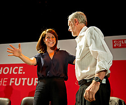 ©  London News Pictures. 19/07/2015. London, UK. LIZ KENDALL and JEREMY CORBYN embrace following a hustings at the Camden Centre in London. The new leader is due to be announced in September 2015.  Photo credit: Ben Cawthra/LNP
