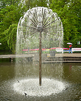 Water fountain. Tulip festival at Keukenhof Gardens in Lisse, Netherlands. Image taken with a Leica X2 camera.