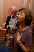 Jonathan Miller and  Joan Bakewell. Book launch of Take A Girl Like Me - Life With George by Diana Melly. The Polish Club. Exhibition Rd. London. 21 July 2005. ONE TIME USE ONLY - DO NOT ARCHIVE  © Copyright Photograph by Dafydd Jones 66 Stockwell Park Rd. London SW9 0DA Tel 020 7733 0108 www.dafjones.com