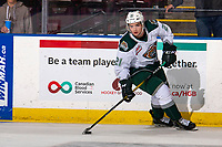KELOWNA, BC - SEPTEMBER 28:  Dylan Anderson #21 of the Everett Silvertips warms up with the puck against the Kelowna Rockets at Prospera Place on September 28, 2019 in Kelowna, Canada. (Photo by Marissa Baecker/Shoot the Breeze)