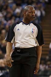 March 18, 2011; Sacramento, CA, USA;  NBA referee Derek Richardson (63) during the second quarter between the Sacramento Kings and the Philadelphia 76ers at the Power Balance Pavilion. Philadelphia defeated Sacramento 102-80.