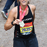 London, England, UK. 28 April 2019. Amelie Mauresmo finish the Virgin Money London Marathon at Pall Mall.