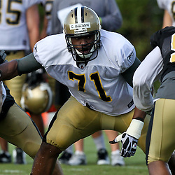 August 9, 2011; Metairie, LA, USA; New Orleans Saints offensive tackle Charles Brown (71) during training camp practice at the New Orleans Saints practice facility. Mandatory Credit: Derick E. Hingle