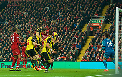LIVERPOOL, ENGLAND - Wednesday, February 27, 2019: Liverpool's Virgil van Dijk scores the fourth goal with a thunderous header during the FA Premier League match between Liverpool FC and Watford FC at Anfield. (Pic by Paul Greenwood/Propaganda)