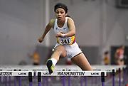 Feb 24, 2017; Seattle, WA, USA; Alexa Harmon-Thomas of Southern California runs 9.00 in the pentathlon 60m hurdles during the MPSF Indoor Championships at the Dempsey Indoor.