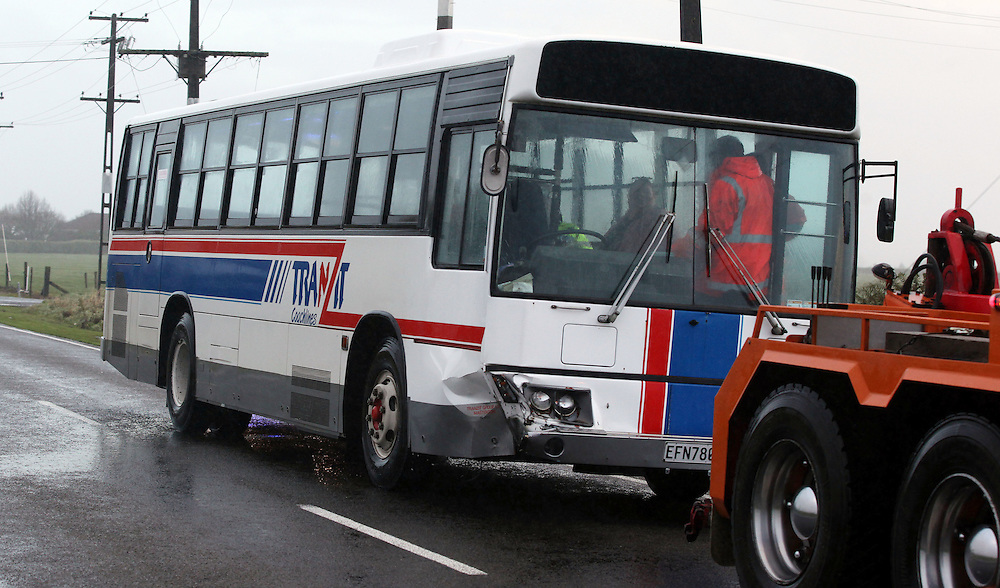 Ten pupils and the bus driver were taken to hospital with minor injuries after the school bus from Kaponga Primary School collided with a car on Lower Palmer Road, Kaponga, New Zealand, Wednesday, ,June 25, 2014.Credit:SNPA / Glenn Jeffrey