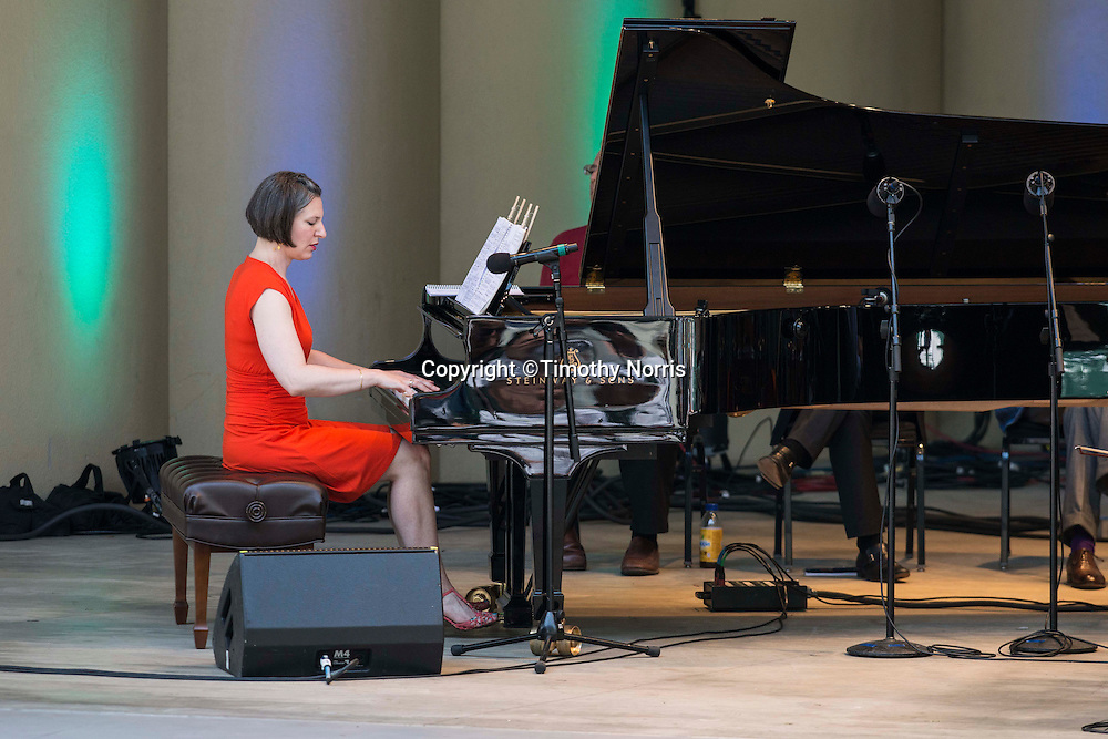 "Pianist Lisa Kaplan performs ""Canonade"" a melange of musical canons devised by Jeremy Denk with music by Josquin,  Mozart, Schumann, Kurtág, P.D.Q. Bach, Isham, Purcell, Stanchinsky, Beethoven, Haydn, Uri Caine and J.S. Bach at the 68th Ojai Music Festival at Libbey Bowl on June 15, 2014 in Ojai, California."