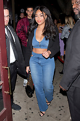 Jordyn Woods shows off her Midriff in an all denim outfit as she arrived to 'Peppermint' Night Club in West Hollywood, CA. 03 Nov 2018 Pictured: Jordyn Woods. Photo credit: MEGA TheMegaAgency.com +1 888 505 6342