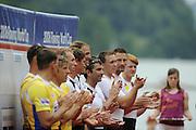 Lucerne, SWITZERLAND.  USA 4X win the Men's Quad Sculls,  awards dock, at the  2008 FISA World Cup Regatta, Round 2.  Lake Rotsee, on Sunday, 01/06/2008.  [Mandatory Credit:  Peter Spurrier/Intersport Images].Lucerne International Regatta..Crew Bow, Matthew HUGHES, Samuel STITT, Jameie SCHROEDER and Scott GAULT. Rowing Course, Lake Rottsee, Lucerne, SWITZERLAND.