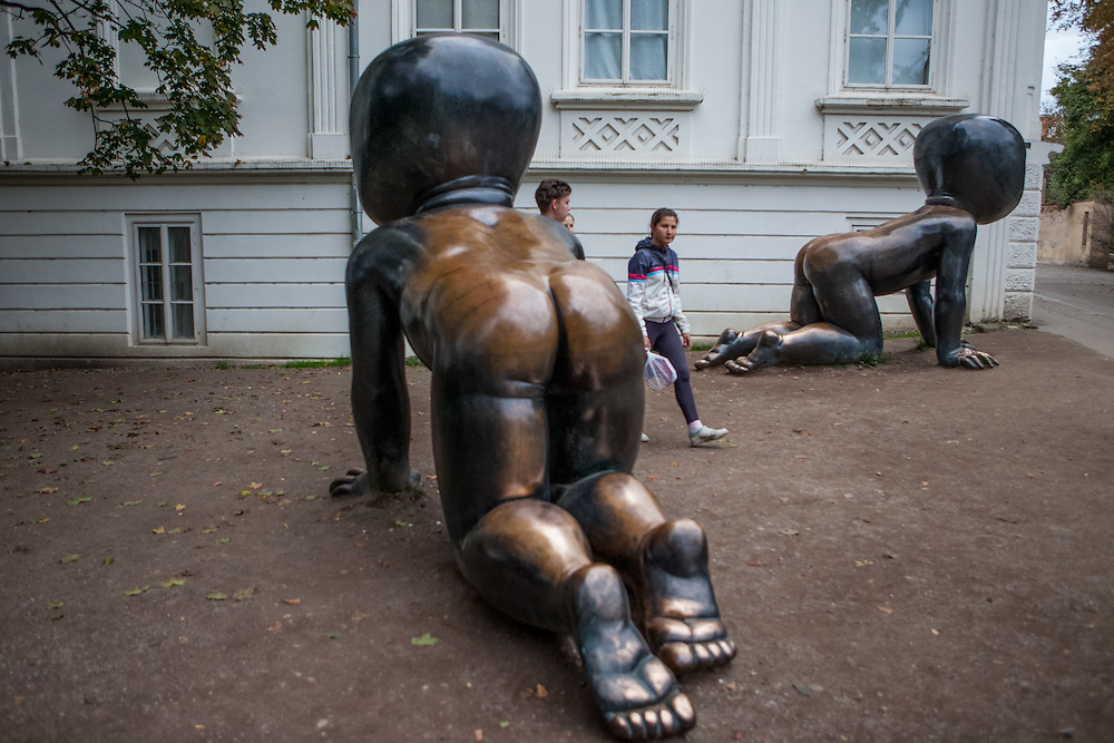 "Prague ""Kampa Babies"" by Czech artist David Cerny beside the Museum ""Kampa"" located on Kampa Island in the center of Prague."