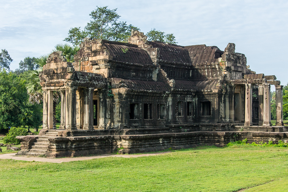 Angkor Wat has multiple libraries.  This one is the north library.  Angkor Wat is an ancient  religious monument in Cambodia.