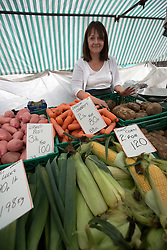 UK ENGLAND BOSTON 7SEP16 - Vegetable seller Jane Marten (42) at her stall in Boston town centre.<br /> <br /> jre/Photo by Jiri Rezac<br /> <br /> © Jiri Rezac 2016