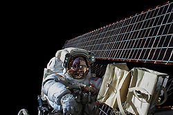 EARTH Aboard the International Space Station -- 06 Nov 2015 -- NASA astronaut Scott Kelly is seen while working outside of the International Space Station during a spacewalk on 06 Nov 2015. Commander Kelly and fellow NASA astronaut Kjell Lindgren restored the port truss (P6) ammonia cooling system to its original configuration and returned ammonia to the desired levels in both the prime and back-up systems. The spacewalk lasted for seven hours and 48 minutes. EXPA Pictures © 2016, PhotoCredit: EXPA/ Photoshot/ Kjell Lindgren/Atlas Photo Archi<br />