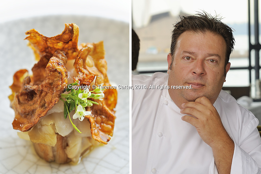 Chef Peter Gilmore and his dish of smoked and confit pig cheek, Quay Restaurant, Sydney, Australia. Copyright 2014 Terence Carter / Grantourismo. All Rights Reserved.