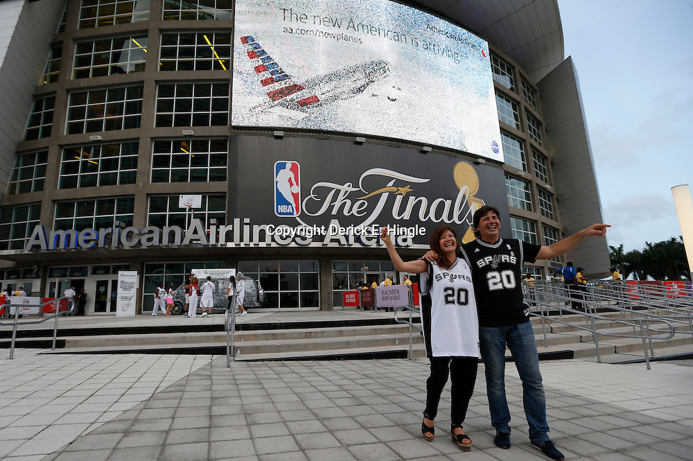 Jun 20, 2013; Miami, FL, USA; San Antonio Spurs fans prior to game seven in the 2013 NBA Finals between the San Antonio Spurs and the Miami Heat at American Airlines Arena. Mandatory Credit: Derick E. Hingle-USA TODAY Sports