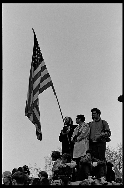 Madison, WI – May, 1970. Protesters against the war in Vietnam at the Capitol, led by Veterans for Peace in Vietnam. On May 1, 1970, there was a general student strike in response to the news that the U.S. had expanded bombing into Cambodia. There was a march against the war, led by Veterans for Peace in Vietnam; and after the May 4 shootings at Kent State University in Ohio, there were more protests at UW Madison, which led to the police being called in, and teargassing demonstrators in the streets and on campus.