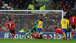 GOAL: Arsenal's Mathieu Flamini fires home to make it 0-2 - Photo mandatory by-line: Gary Day/JMP - Tel: Mobile: 07966 386802 30/11/2013 - SPORT - Football - Cardiff - Cardiff City Stadium - Cardiff City v Arsenal - Barclays Premier League