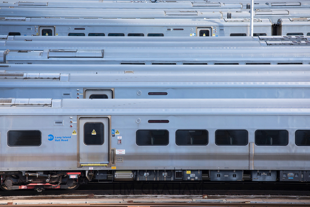 Long Island Railroad train carriages parked up at The Shed, Hudson Yards on west side Manhattan, New York City