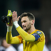 ANDORRA LA VELLA, ANDORRA. June 1.  Hugo Lloris #1 of France applauds the spectators at the end of the game during the Andorra V France 2020 European Championship Qualifying, Group H match at the Estadi Nacional d'Andorra on June 11th 2019 in Andorra (Photo by Tim Clayton/Corbis via Getty Images)