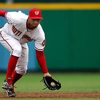 18 July 2007:  Washington Nationals shortstop Felipe Lopez (2) fields a ground ball in the second inning off and throws out Houston Astros center fielder Hunter Pence.  The Nationals defeated the Astros 7-6 at RFK Stadium in Washington, D.C.  ****For Editorial Use Only****