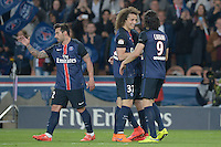 joie PSG / Ezequiel Lavezzi / David Luiz / Edinson Cavani - 23.05.2015 - PSG / Reims - 38eme journee de Ligue 1<br />