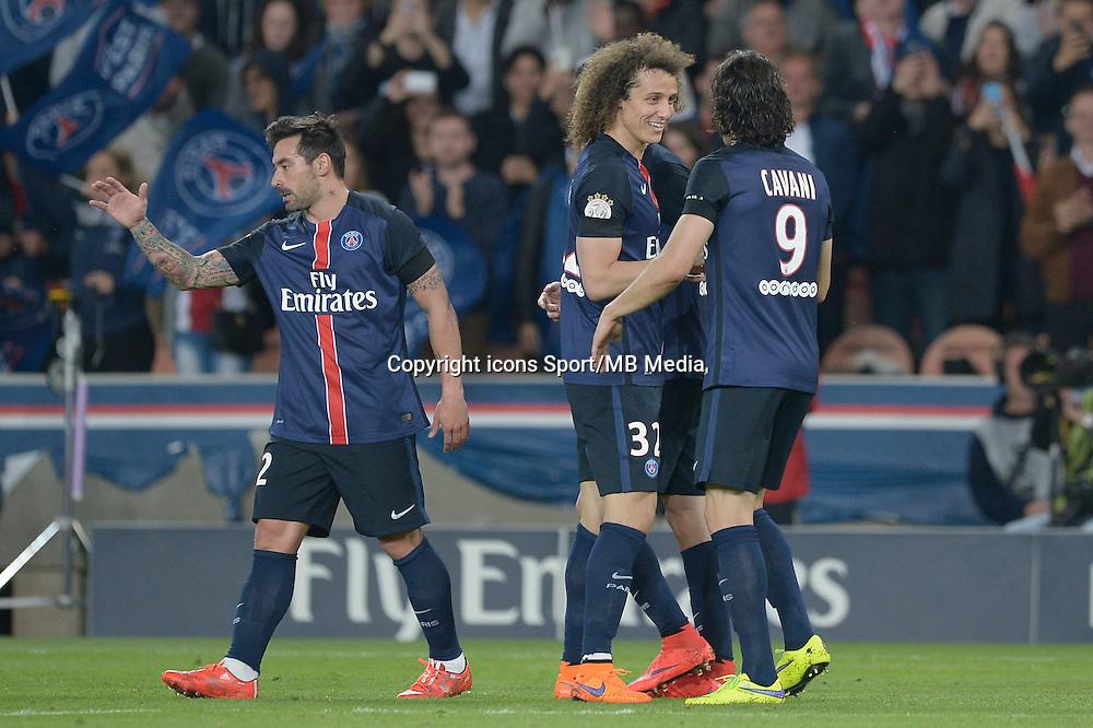 joie PSG / Ezequiel Lavezzi / David Luiz / Edinson Cavani - 23.05.2015 - PSG / Reims - 38eme journee de Ligue 1<br />Photo : Andre Ferreira / Icon Sport