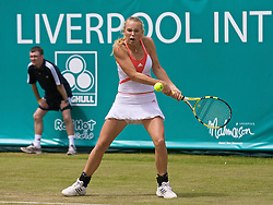LIVERPOOL, ENGLAND - Thursday, June 12, 2008: Caroline Wozniacki in action during the Women's Singles on Day Three of the Tradition-ICAP Liverpool International Tennis Tournament at Calderstones Park. (Photo by David Rawcliffe/Propaganda)