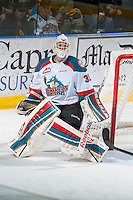 KELOWNA, CANADA - FEBRUARY 9: Jake Morrissey #31 of Kelowna Rockets defends the nets against the Prince George Cougars on February 9, 2015 at Prospera Place in Kelowna, British Columbia, Canada.  (Photo by Marissa Baecker/Shoot the Breeze)  *** Local Caption *** Jake Morrissey;