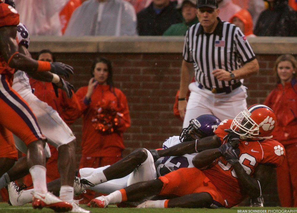Sep 26, 2009; Clemson, SC, USA; TCU Horned Frogs wide receiver Antoine Hicks  (13) scores a touchdown on a 25 yard Andy Dalton (not pictured) pass during the fourth quarter at Memorial Stadium. Mandatory Credit: Brian Schneider-www.ebrianschneider.com