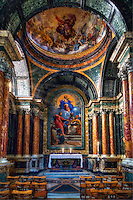 &ldquo;Cybo Chapel - Basilica of Santa Maria del Popolo Rome&rdquo;&hellip;<br /> <br /> Not far from my hotel in Roma resides a fairly nondescript exterior of The Basilica of Santa Maria del Popolo. Encompassed  within its sacred walls is a variety of art work unequaled in the world. The Basilica is comprised of great works by many of the preeminent artists, such as Raphael, Gian Lorenzo Bernini, Caravaggio, Alessandro Algardi, Pinturicchio, Andrea Bregno, Guillaume de Marcillat and Donato Bramante.  &ldquo;Cappella Cybo&rdquo; is the second side chapel in the right-hand aisle of the Basilica which is famous for the beauty of its paintings, the preciousness of marble revetments covering its bellissimo walls, and the renowned importance of the artists involved in its construction. The chapel is regarded as one of the most significant sacral monuments erected in Rome in the last quarter of the 17th century.  I knew in advance of the great Caravaggio paintings, especially the &ldquo;Crucifixion of Peter&rdquo;; however, I was not prepared for the security guard blocking the doorway and turning off the light to the small chapel inside the Basilica every time I came near.  The guard courageously kept a watchful eye on everyone with a camera in order to protect the integrity of the very famous artwork. I edged to the back, peered around the corner with a telephoto lens and prevailed with a few pictures from a distance of the famous paintings just for my viewing pleasure.  However, as I returned home and upon making a close inspection of the pictures, it was not the Caravaggios I had coveted, but an imposter.  The guard blocked the shallow entrance and within a few steps inside, to the right and left ...the Caravaggios hid from view, as if to tell me to try yet another day. I was able to capture this very magnificent Chapel as a consolation prize.
