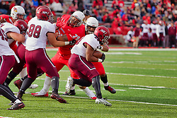 NORMAL, IL - October 13: Travis Pickert blocks out Trey Georgie for ball runner Chris Perkins during a college football game between the ISU (Illinois State University) Redbirds and the Southern Illinois Salukis on October 13 2018 at Hancock Stadium in Normal, IL. (Photo by Alan Look)