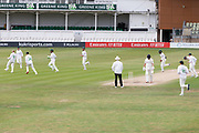 WICKET - Callum Parkinson celebrates the wicket of Dane Vilas during the Bob Willis Trophy match between Lancashire County Cricket Club and Leicestershire County Cricket Club at Blackfinch New Road, Worcester, United Kingdom on 4 August 2020.