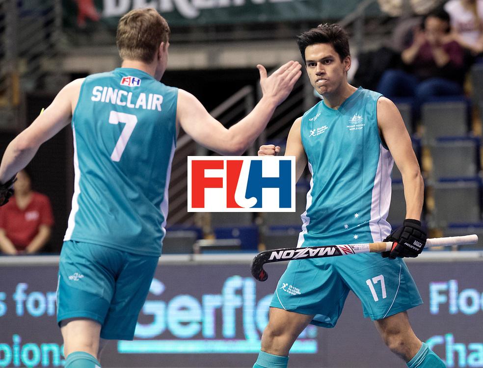 BERLIN - Indoor Hockey World Cup<br /> Men: Australia - Czech Republic<br /> foto: TSHERREN Jake.<br /> WORLDSPORTPICS COPYRIGHT FRANK UIJLENBROEK