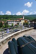 Slovenia. A Morgan sportscar at Kanal.