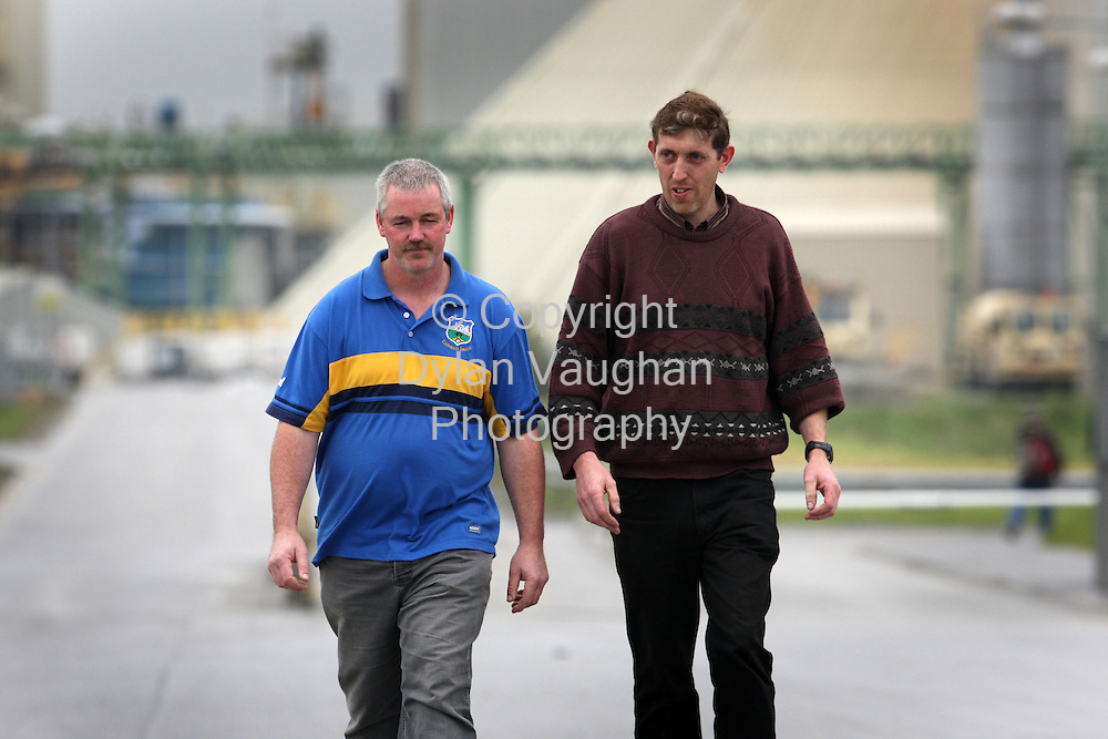 26/9/2008.Miners Gerry Kavanagh (left) and Joe Maher pictured leaving the Galmoy Mine plant in North County Kilkenny yesterday..Picture Dylan Vaughan.