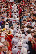 Stanford players enter Memorial Stadium in Berkeley, California before the start of the 1990 Big Game between Stanford and Cal.  Bob Whitfield (#70), a future NFL player, is visible in center.