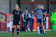 Erin Cuthbert (Chelsea) waiting to see the direction of the ball during the FA Women's Super League match between Brighton and Hove Albion Women and Chelsea at The People's Pension Stadium, Crawley, England on 15 September 2019.