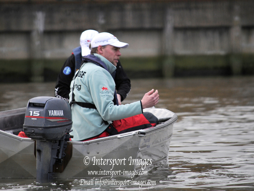 Putney. London. Tideway Week build up to the   2011 University Boat Race over parts of the Championship Course - Putney to Mortlake. Steve TRAPMORE, Head Coach, Cambridge, CUBC, in the Coaching Launch. Monday  21/03/2011 [Mandatory Credit; Karon Phillips/Intersport-images].. 2011 Tideway Week