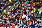 Callum Paterson defending the Aberdeen Attack during the Ladbrokes Scottish Premiership match between Heart of Midlothian and Aberdeen at Tynecastle Stadium, Gorgie, Scotland on 20 September 2015. Photo by Craig McAllister.