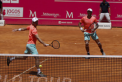 May 6, 2018 - Estoril, Portugal - Wesley Koolhof from Netherlands  (L) returns a shot against Artem Sitak from New Zealand  (R)  and Cameron Norrie from Great Britain while playing with Artem Sitak from New Zealand during the Millennium Estoril Open ATP doubles final tennis match in Estoril, near Lisbon, on May 6, 2018. (Credit Image: © Carlos Palma/NurPhoto via ZUMA Press)